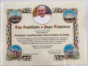 Bênção Pontifícia ao Seminário, que comemorou 70 anos de sua fundação (04/04/2021).